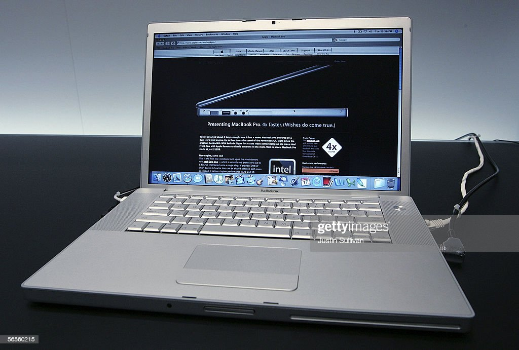 A new MacBook Pro laptop with Intel Core Duo processor is seen on display during the 2006 Macworld January 10, 2006 in San Francisco, California. Jobs announced a new iMac with Intel Core Duo processor as well as the new MacBook Pro laptop.