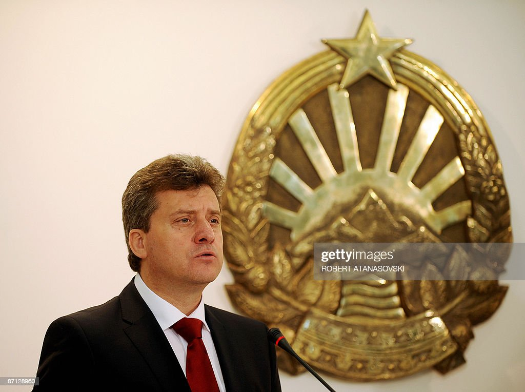 New Macedonian President <a gi-track='captionPersonalityLinkClicked' href=/galleries/search?phrase=Gjorge+Ivanov+-+President&family=editorial&specificpeople=12777955 ng-click='$event.stopPropagation()'>Gjorge Ivanov</a> (L) addresses a press conference in the new president's residence in Skopje May 12, 2009. Macedonia's new president said at his swearing-in speech that resolving an 18-year-old dispute with Greece amid a push for NATO and EU membership was his number one political priority. AFP PHOTO/Robert ATANASOVSKI