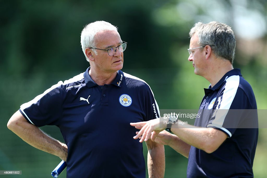 New manager Claudio Ranieri talks to director of football Jon Rudkin during the Leicester City training session at their pre-season training camp on July 14, 2015 in Spielfeld, Austria.