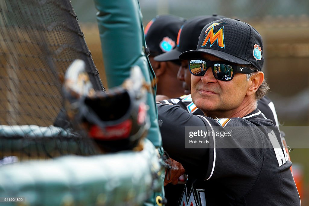New manager Don Mattingly of the Miami Marlins during a team workout on February 23 2016 in Jupiter Florida