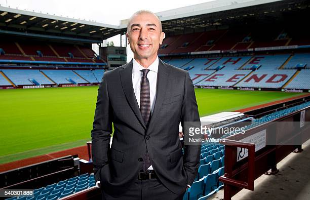New manager Roberto Di Matteo of Aston Villa poses for a picture at Villa Park on June 15 2016 in Birmingham England