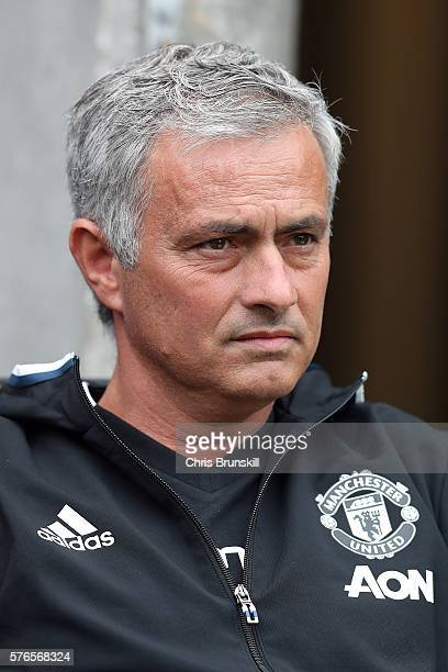 New Manchester United manager Jose Mourinho looks on during the pre season friendly match between Wigan Athletic and Manchester United at the JJB...