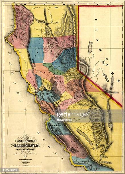 A New Map of the Gold Region of California' 1851 Illustration by Charles Drayton Gibbes