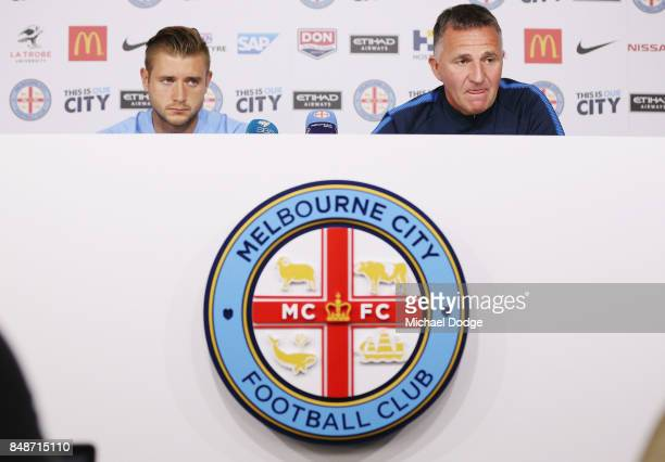New marquet signing Marcin Budzinksi and coach Warrem Joyce speak to media during a Melbourne City ALeague press conference at the City Football...