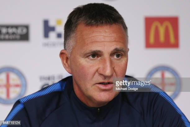 New marquet signing Marcin Budzinksi and coach Warren Joyce speaks to media during a Melbourne City ALeague press conference at the City Football...