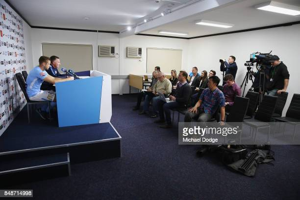 New marquet signing Marcin Budzinksi speaks to media during a Melbourne City ALeague press conference at the City Football Academy on September 18...