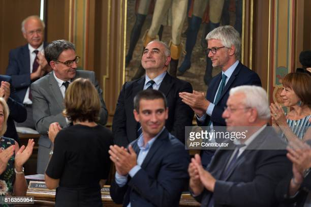 New Mayor of Lyon Georges Kepenekian reacts after being elected during a city council at the city hall in Lyon central eastern France on July 17 2017...