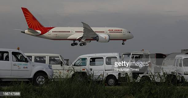 'NEW DELHI INDIA SEPTEMBER 8 New member of Air India fleet the advanced Boeing 787 Dreamliner touched down at IGI airport on September 8 2012 in New...