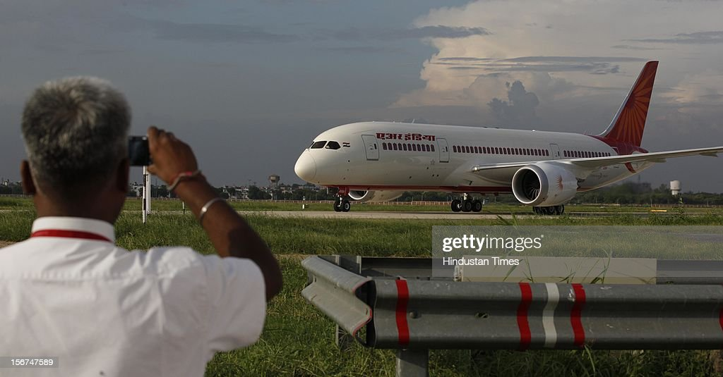 'NEW DELHI, INDIA - SEPTEMBER 8: New member of Air India fleet the advanced Boeing 787 Dreamliner touched down at IGI airport on September 8, 2012 in New Delhi, India. (Photo by Raj k Raj/Hindustan Times via Getty Images)'