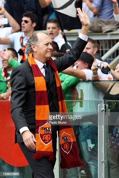 New member of the AS Roma Hall of Fame Paolo Roberto Falcao greets the fans during a ceremony before the Serie A match between AS Roma and Atalanta...