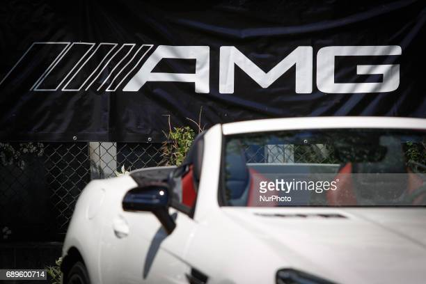 New Mercedes Benz cars are seen on display during the Bydgoszcz Cycling Challenge on 28 May 2017