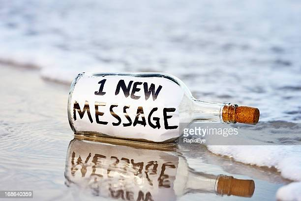1 new message says washed-up note in bottle on shore