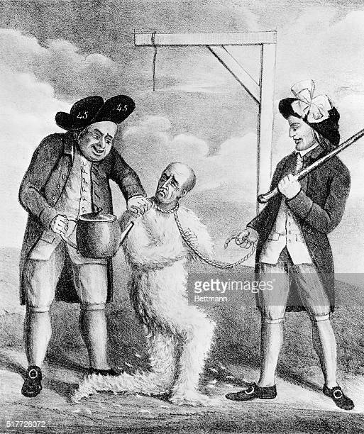 'A new method of making Macarony making in Boston' Revolutionary Cartoon Litho by DC Johnston copied from 1774 British print showing two American...