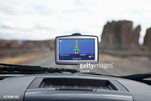 USA, New Mexico, GPS monitor in car