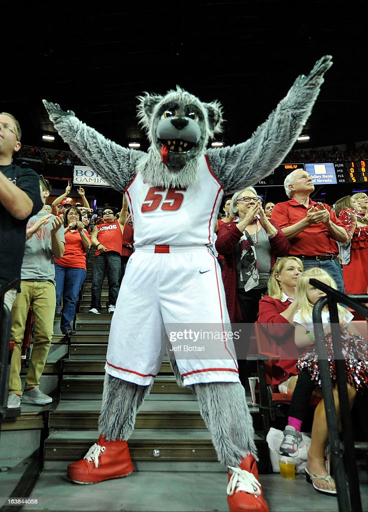 New Mexico Lobos mascot Lobo Louie appears in the stands during the second half of the championship game of the Reese's Mountain West Conference Basketball tournament against the UNLV Rebels at the Thomas & Mack Center on March 16, 2013 in Las Vegas, Nevada. New Mexico won 63-56.