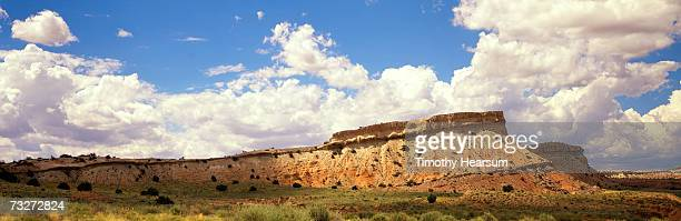 'USA, New Mexico, near Cabezon, red rock formation with sagebrush, juniper and pinon pines'