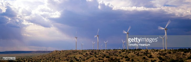 'USA, New Mexico, near Fort Sumner, wind generators on mesa' : Stock Photo