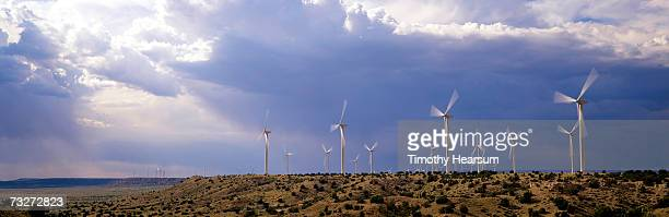'USA, New Mexico, near Fort Sumner, wind generators on mesa'