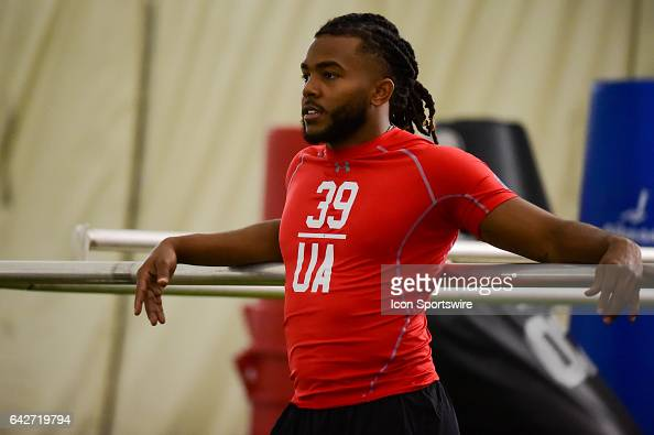 New Mexico safety Ryan Santos awaits to run the 40 yard dash during the 2017 NFL Houston Regional Combine on February 18 2017 at the Texans Training...