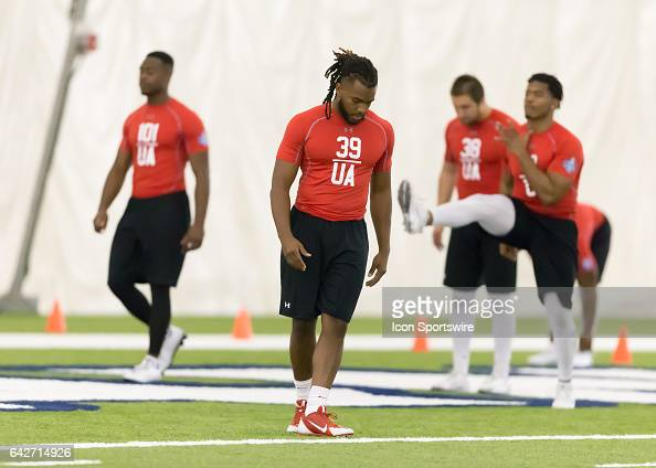 New Mexico safety Ryan warms up during the 2017 Houston NFL Regional Com Santos bine on February 18 2017 at the Texans Training Facility in Houston...