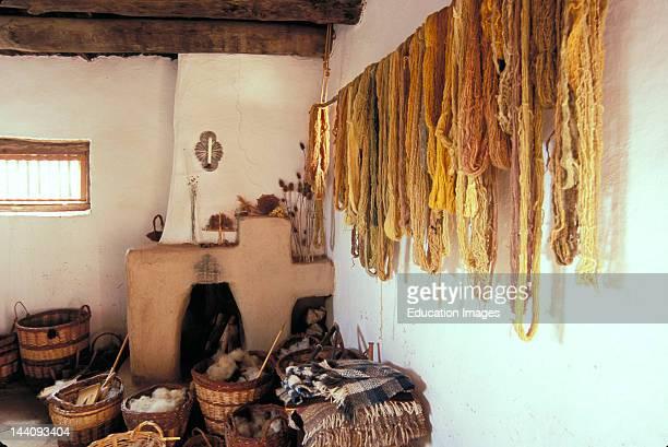New Mexico Santa Fe El Rancho De Las Golondrinas Living Museum Spanish Colonial Room With Baskets And Yarn