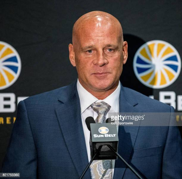 New Mexico State head coach Doug Martin interacts with media during the Sun Belt Media Day on July 24 2017 at the MercedesBenz Superdome on