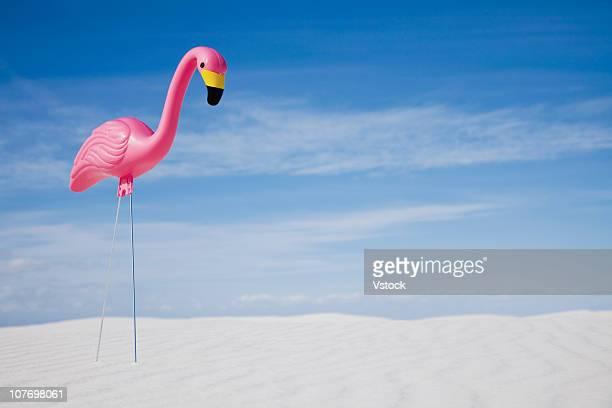 USA, New Mexico, White Sands National Monument, Model flamingo in desert