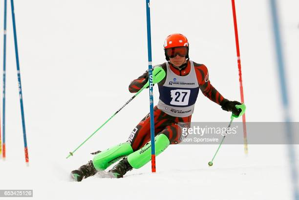 New Mexico's Isak Klein during the NCAA Men's Slalom Skiing Championship on March 10 2017 at Cannon Mountain in Franconia New Hampshire