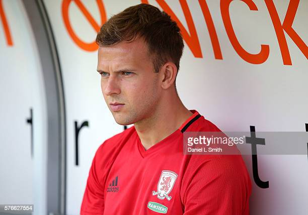 new Middlesbrough signing Jordan Rhodes on the bench prior to the preseason friendly match between Doncaster Rovers and Middlesbrough at Keepmoat...