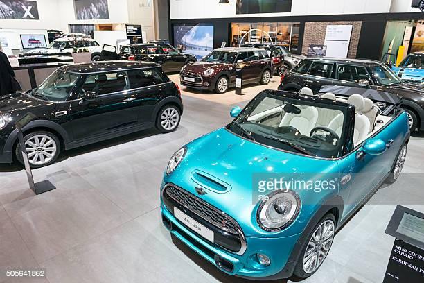 New MINI Cabrio compact convertible car at the MINI stand
