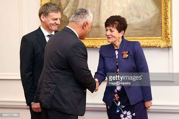 New minister Alfred Ngaro is greeted by GovernorGeneral Dame Patsy Reddy and Prime Minister Bill English during a ceremony at Government House on...