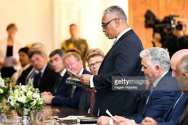 New minister Alfred Ngaro is sworn in during a ceremony at Government House on December 20 2016 in Wellington New Zealand Bill English announced his...