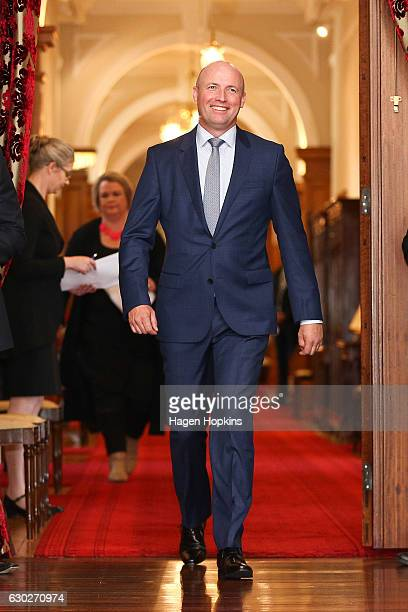 New minister David Bennett arrives during a ceremony at Government House on December 20 2016 in Wellington New Zealand Bill English announced his...