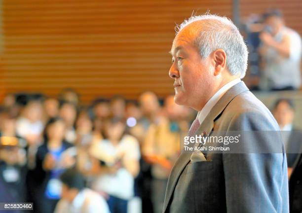 New Minister for Tokyo Olympic and Paralympic Games Shunichi Suzuki is seen on arrival at the prime minister's official residence on August 3 2017 in...