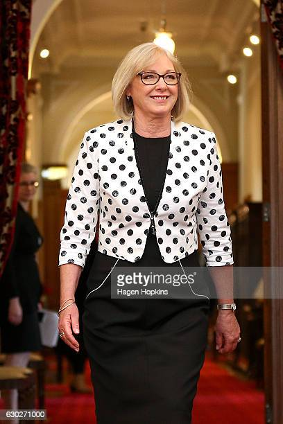 New minister Jacqui Dean arrives during a ceremony at Government House on December 20 2016 in Wellington New Zealand Bill English announced his...