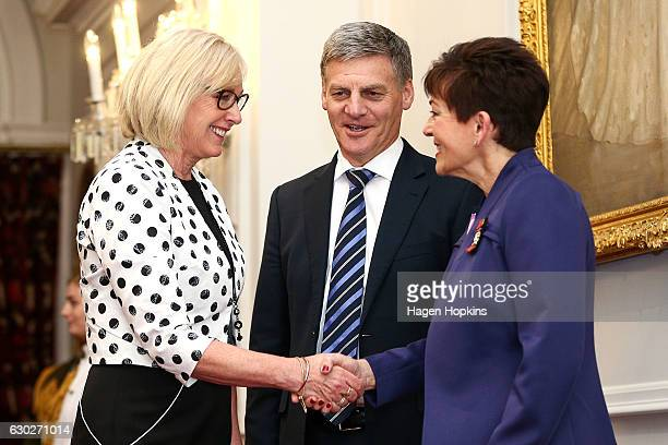 New minister Jacqui Dean is greeted by GovernorGeneral Dame Patsy Reddy and Prime Minister Bill English during a ceremony at Government House on...