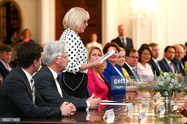 New minister Jacqui Dean is sworn in during a ceremony at Government House on December 20 2016 in Wellington New Zealand Bill English announced his...