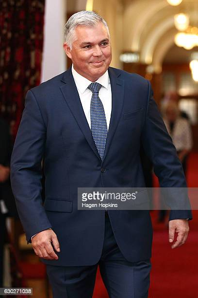 New minister Mark Mitchell arrives during a ceremony at Government House on December 20 2016 in Wellington New Zealand Bill English announced his...