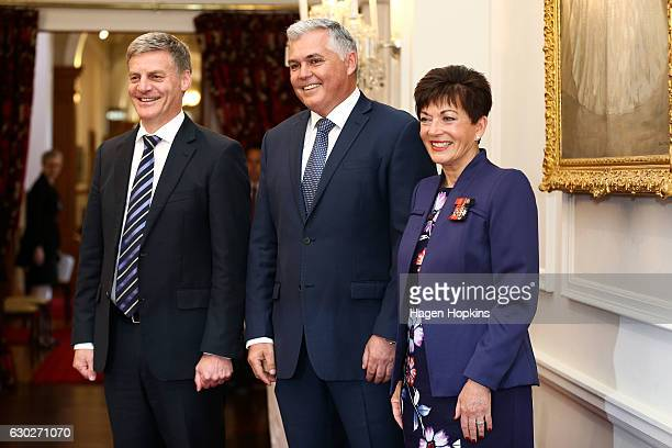 New minister Mark Mitchell poses with Prime Minister Bill English and GovernorGeneral Dame Patsy Reddy during a ceremony at Government House on...