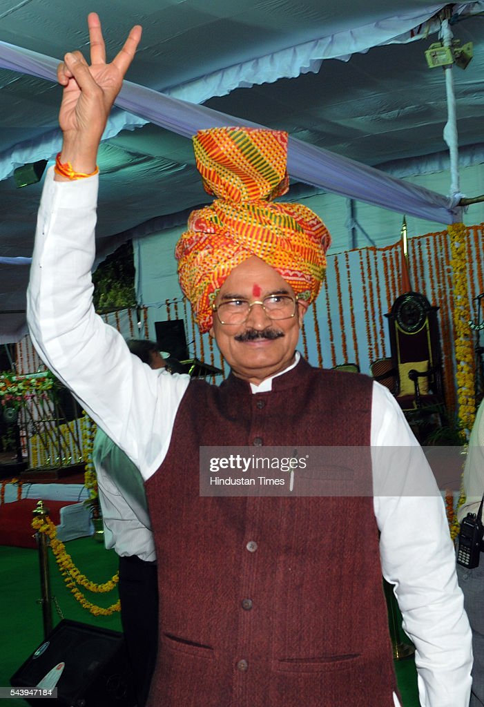 New minister Rustam Singh at Raj Bhavan on June 30, 2016 in Bhopal, India. Madhya Pradesh Chief Minister Shivraj Singh Chouhan expanded his cabinet inducting nine new ministers, four of cabinet rank and five ministers of state.