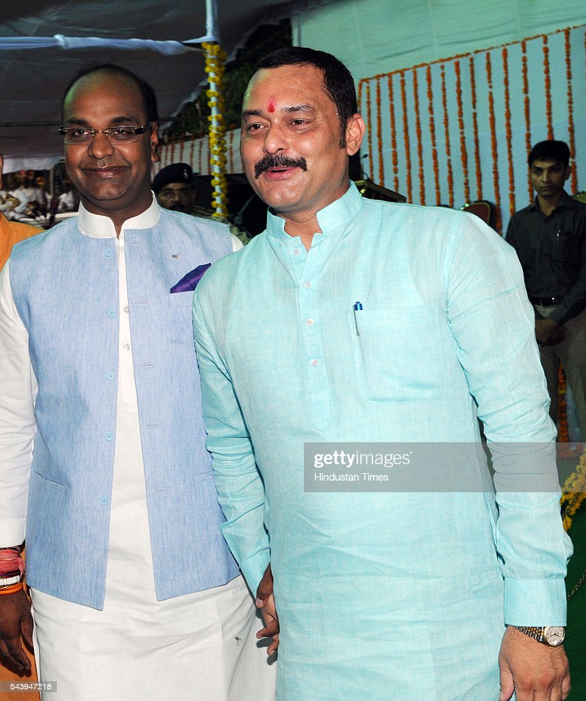New minister Vishwas Sarang and Sanjay Pathakat Raj Bhavan on June 30, 2016 in Bhopal, India. Madhya Pradesh Chief Minister Shivraj Singh Chouhan expanded his cabinet inducting nine new ministers, four of cabinet rank and five ministers of state.
