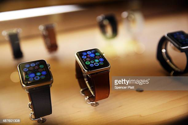 New models of the Apple are viewed in an Apple store on September 10 2015 in New York City The Cupertino California based tech company unveiled new...