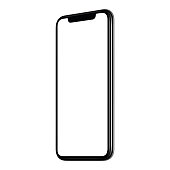 Smartphone mockup. New modern black frameless angled clockwise smartphone mockup with white screen. Isolated on white background. Smartphone frameless design concept.