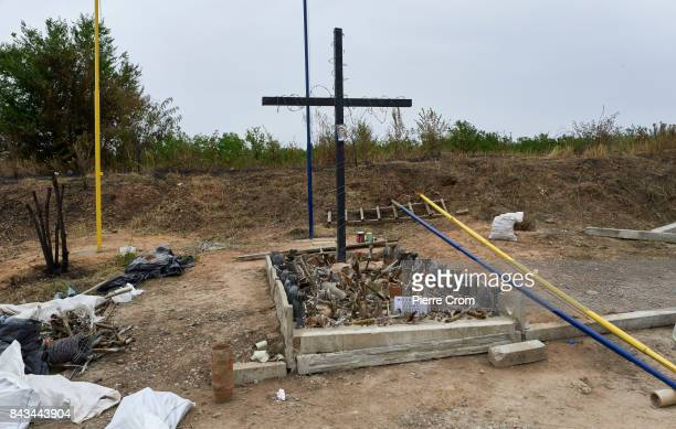 A new monument for fallen Ukrainian soldiers has been build with the remains of artillery projectiles on September 06 2017 in Avdiivka Ukraine The...