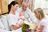 Nouvelle mère avec Bébé et Famille à l'hôpital