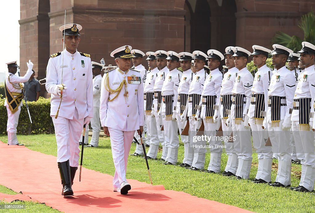 New Navy Chief Admiral Sunil Lanba inspect ceremonial guard of honour at South Block on May 31, 2016 in New Delhi, India. Earlier this month the government appointed Lanba, the Flag Officer Commanding-in-Chief, Western Naval Command as the Chief of Naval Staff. Admiral Lanba, 58, is a qualified specialist in navigation and direction course and will have a full three-year-term in office till May 31, 2019.