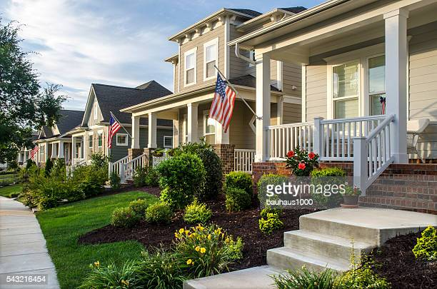 New Neighborhood with American Flags