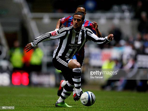 New Newcastle signing Wayne Routledge in action during the CocaCola Championship game between Newcastle United and Crystal Palace at St James' Park...