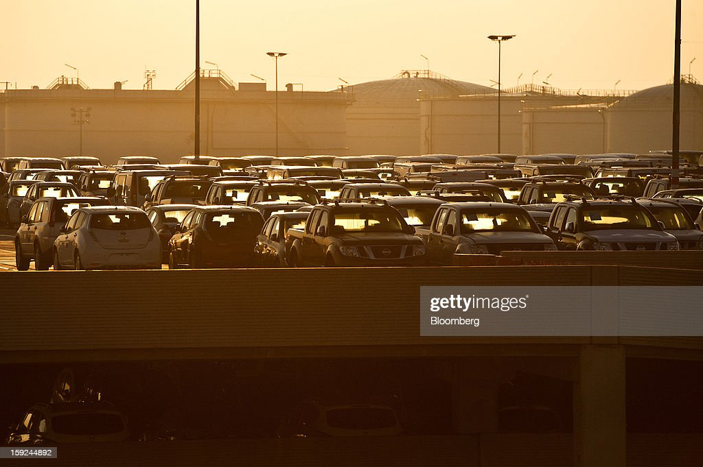 New Nissan Motor Co. automobiles stand in a parking lot ahead of shipping at Barcelona port in Barcelona, Spain, on Thursday, Jan. 10, 2013. Spanish exports grew the least in five months in September as the euro area relapsed into a recession and the region's fourth-largest economy continued to contract. Photographer: David Ramos/Bloomberg via Getty Images