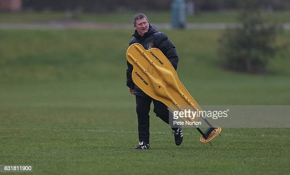 New Northampton Town assistant manager David Kerslake looks on during his first training session at Moulton College on January 16 2017 in Northampton...